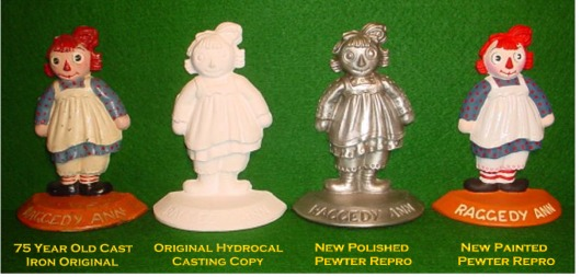 Raggedy Ann pewter casting stages of development